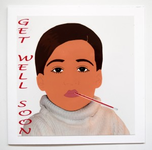GET WELL SOON Inspired by one of Twiggy's most iconic photos, a young girl is ill with a thermometer in her mouth and replicating Twiggy's long lashes and short hair. This card is a great pick me up for a fashionista that isn't feeling too well.