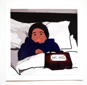 NOT WELL Inspired by the much loved kid's cartoon character 'Paddington Bear', a child is in bed ill wearing Paddington's iconic blue coat and black hat with a message on his famous suitcase saying 'not well'. A great card for Paddington lovers.