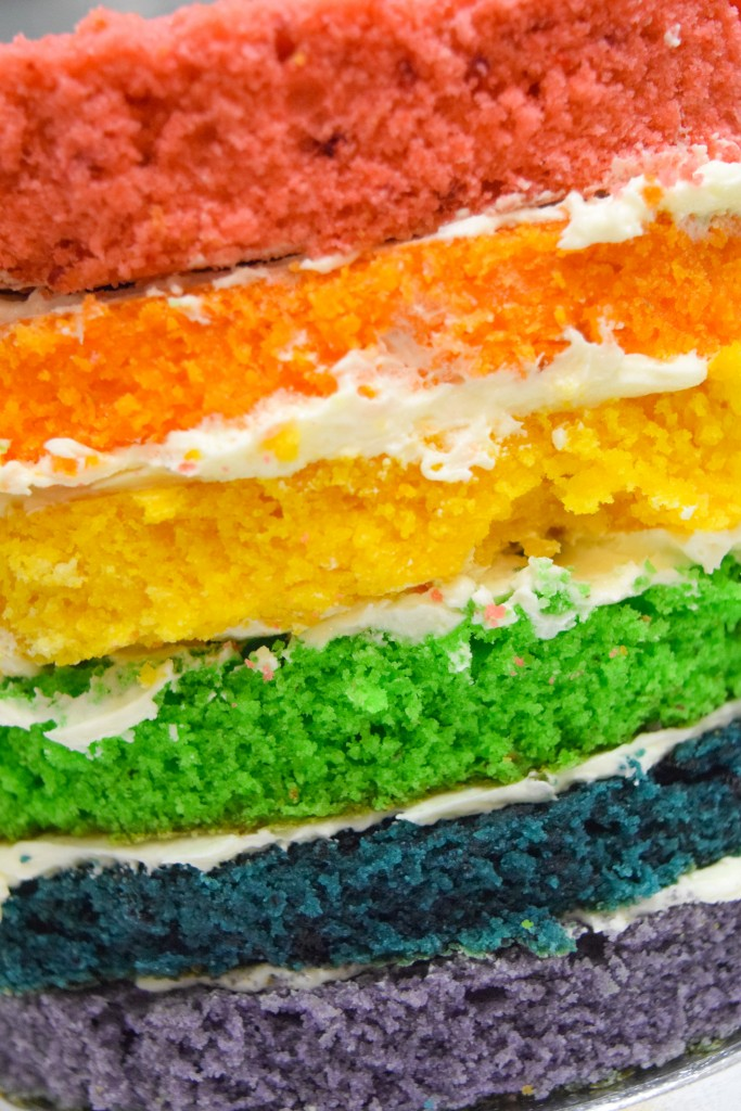 a stack of rainbow sponges coured red, orange, yellow, green, blue and purple from top to bottom with a white buttercream between each layer