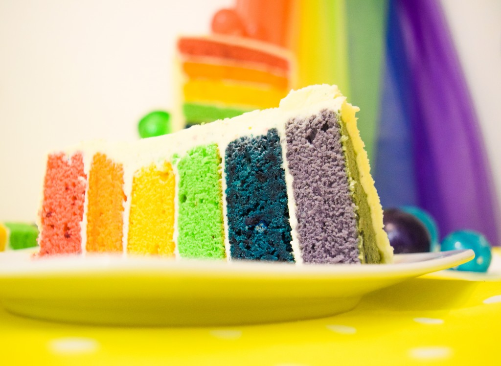 6 layered rainbow cake on its side coloured from left to right red, orange, yellow, green, blue and purple on a white plate ontop of a yellow table cloth and a rainbow background