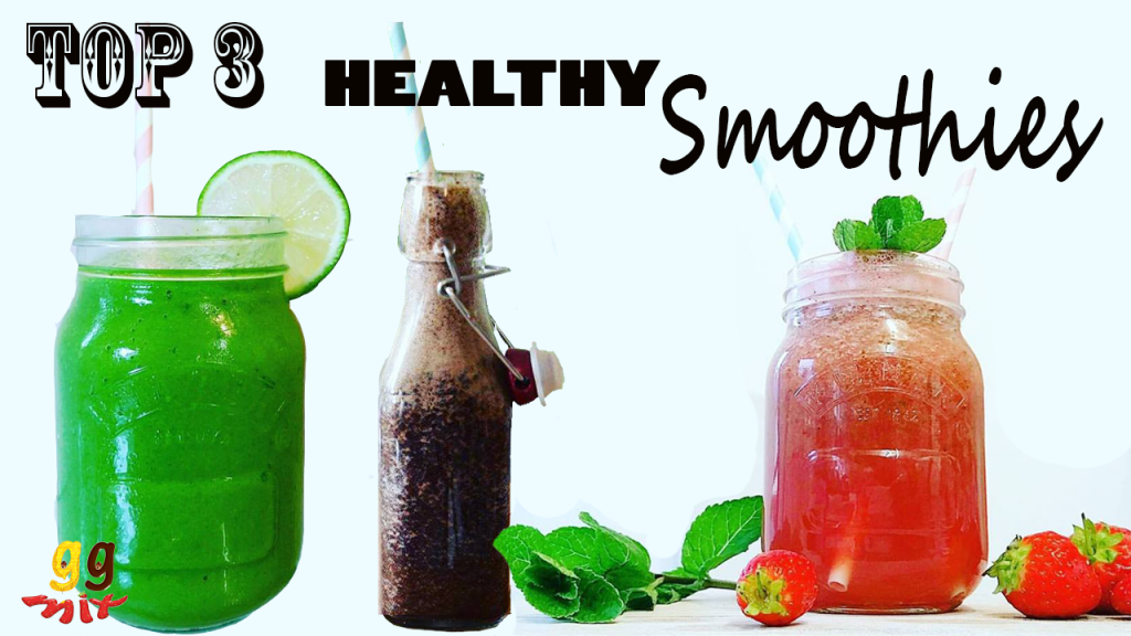 Top 3 healthy smoothies. Mango, pineapple, banana, spinach and mint smoothie drink. Blueberry, banana, spinach and cinnamon smoothie drink. Healthy watermelon, strawberry, mint and rose smoothie drink. ggmix