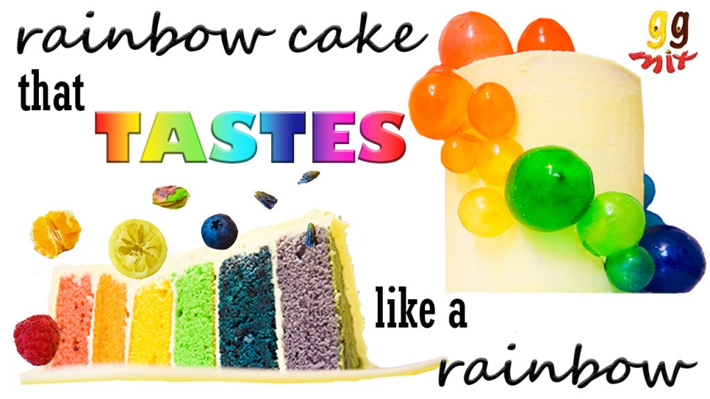 on the bottom left is a 6 layered rainbow cake on its side coloured from left to right red, orange, yellow, green, blue and purple with a raspberry, orange. lemon, pisrachio, blueberry and 3 grains of lavender jumping out of the cake. On the upper right a tall cream cake with a cascade of rainbow gelatin bubbles coming down coloured from top to bottom red, orange, yellow, green, blue and purple and a rainbow background and text saying a rainbow cake that tastes like a rainbow
