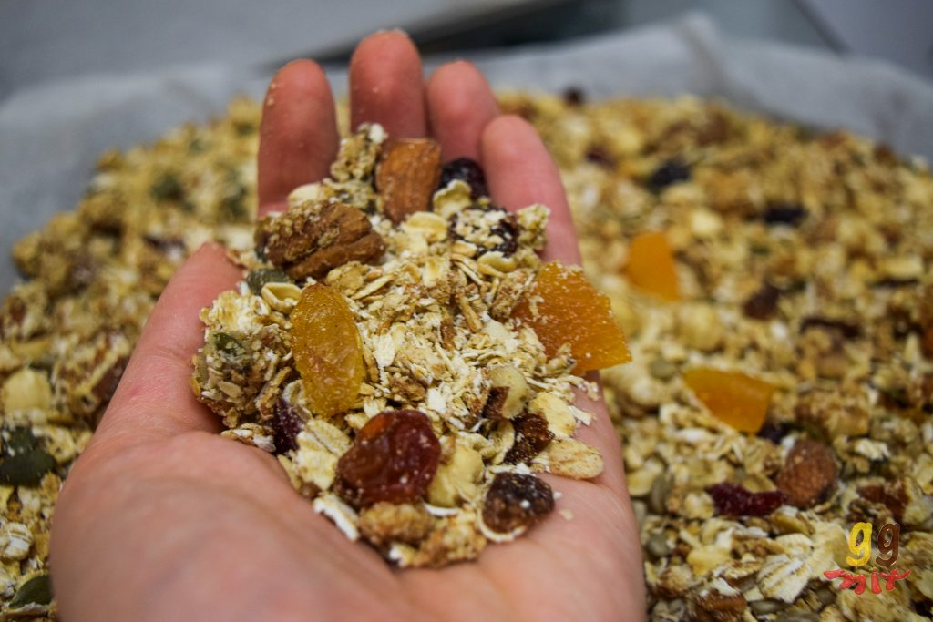 a hand holding some granola consisting of oats, nuts, seeds, dried fruit