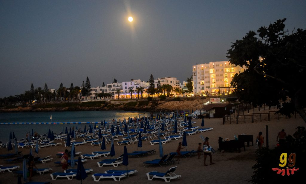 VIEW OF THE SEA AND BEACH IN THE NIGHT AT FIG TREE BAY IN CYPRUS