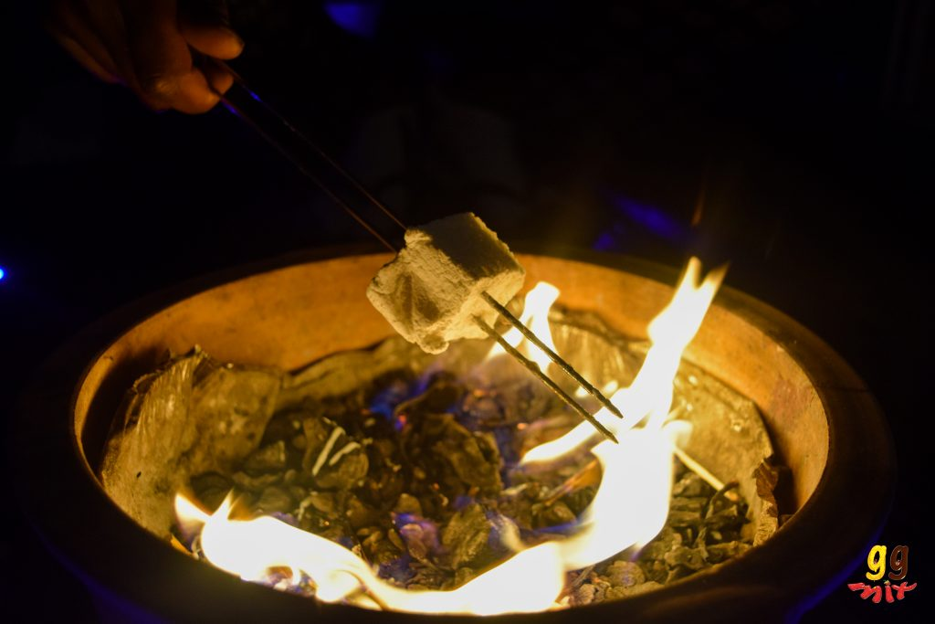 toasting a marshmallow over a fire