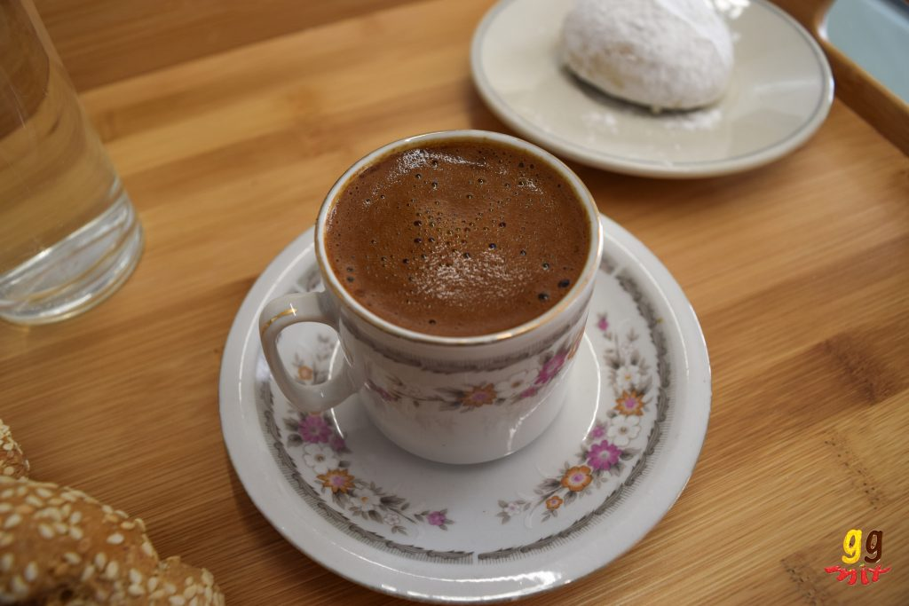 greek cypriot coffee in a traditional greek coffee cup