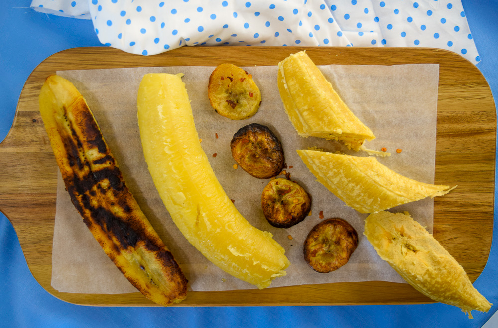 a tray of fried, boiled, grilled and baked plantain
