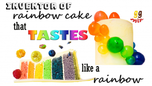 a slice of rainbow cake showing it's flavours bursting out, raspberry, orange, lemon, pistachio, blueberry and vanilla and a tall white cake is on the right with a swirl of rainbow gelatin balls coming down the side